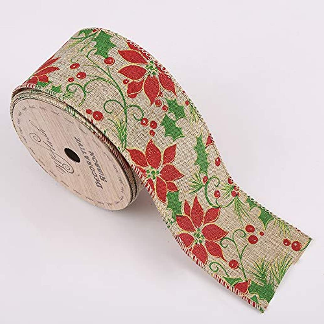 2-1/2-Inch Wide by 10 Yard Spool Wired Edge Craft Ribbon (W415 Christmas Flower Red Green)