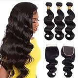 LAPONDAI Human Hair Bundles With Lace Closure Brazilian 9A Virgin 100% Unprocessed Raw Body Wave Remy Hair Extension 3 Bundles with Closure (12 14 16+10 Free Part Closure)