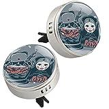 Yumansis Bambola Giapponese Argento 2 Auto diffusore di Oli Essenziali Deodorante Auto Oli Essenziali Lega di Metallo+4Tappetini di Ricarica