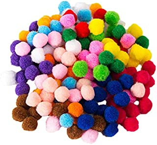 ROSENICE Pom Poms for Crafts Multicolor Pompoms Colorful Plush Ball for Hobby Supplies Creative Craft DIY Material 10 Colo...