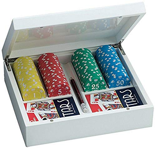 Juego JU00065 Giunevere Poker Set Pokerkoffer inkl. Pokerkarten + 100 Poker Chips - Weiss
