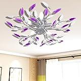 Festnight Lampada da Soffitto Bianca e Viola con Cristalli Acrilici 5 E14 (White And Purple)[Classe di efficienza energetica A+]