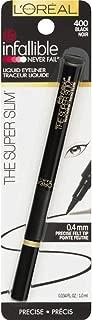 L'Oreal Paris Infallible The Super Slim Liquid Eyeliner, Black [400] 0.034 oz (Pack of 2)