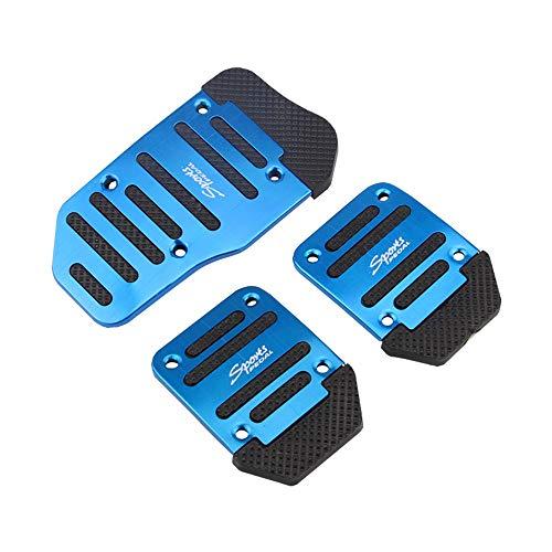 3 Stück Fußpedal Pedalkappen, Auto Pedale Abdeckung Aluminiumlegierung Gummi Pedal, Aluminium-Schaltgetriebe Anti-Rutsch Metall Fußbremse Auto-Pedal-Gehäuse Set Kit (Blau)