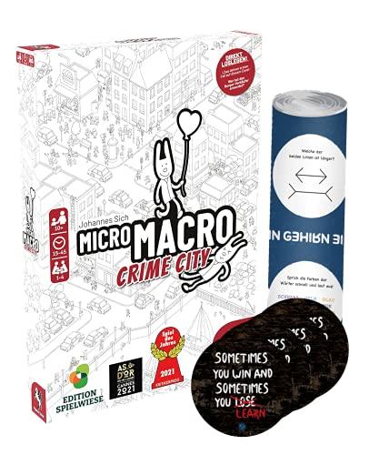 MicroMacro - Set de micromacro de Crime City (edición de campo de juego) + 4 pegatinas de salida + 1 póster de ilusión óptica
