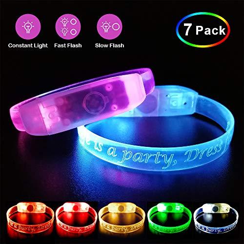 Pumila LED-Armband-blinkende Leuchten Sie Armbänder-Satz 7 Glühen Sie in der Nachtdunkelheit für Sport-Partei-Halloween-Nachtereignisse