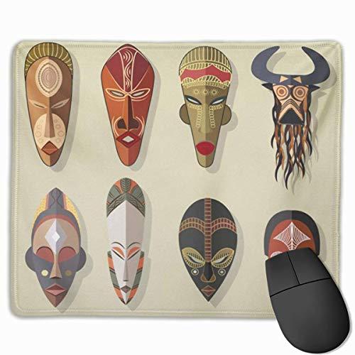 Nettes Gaming-Mauspad, Schreibtisch-Mauspad, kleines Mauspad für Laptop-Computer, Mausmatte Stammes-afrikanische Masken Afrika-Voodoo-Symbol Stamm Ritual Afro-Silhouette