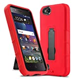 CasemartUSA Phone Case for [ZTE ZFIVE G LTE (Z557BL) / ZFIVE C LTE (Z558VL)], [Impact Series][Red] Shockproof Easy Grip Cover with Kickstand (Tracfone, Simple Mobile, Straight Talk, Total Wireless)