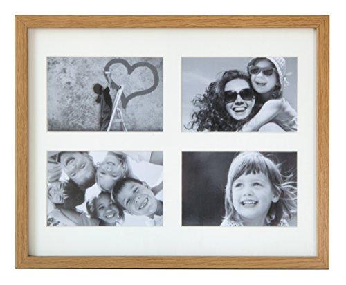 BD ART 28 x 35 cm Mehrfach Bilderrahmen, Bildergalerie, Fotogalerie mit Passepartout und 4 Foto-Ausschnitten für Fotos 10 x 15 cm, Eiche