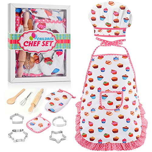 LET'S GO! Fun Gifts for Girls Kids Age 3-12, Kids Chef Hat and Apron, Cooking Baking Sets Great Toys for Kids Girls Age 9-12, Birthday for Kids Girls Toddlers (11 PCs)