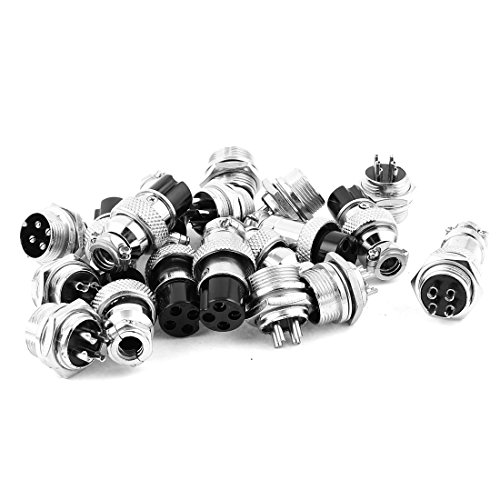 uxcell 10Pairs 16mm Thread 4 Pins Male Female Panel Metal Aviation Wire Connector