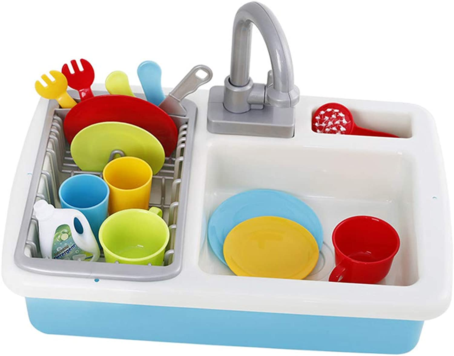 Baoblaze Simulation Kitchen Sink Play Set (Real Working Faucet & Drain) Preschool Pretend Play Toys for Boys Girls
