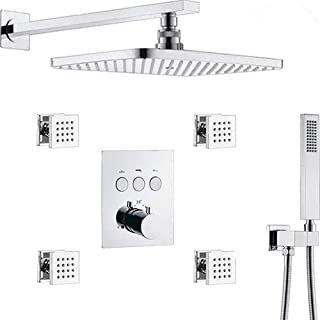 AYIVG Thermostatic Brass Rectangular 12 x 8 Inch Rainfall Shower System With 4 PCS Body..
