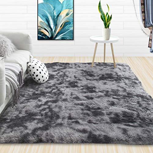 Logo Teppich Wohnzimmer 200x260cm Kunstfell Teppiche Modern Vierecke für Bettvorleger Sofa Matte, Dunkelgrau