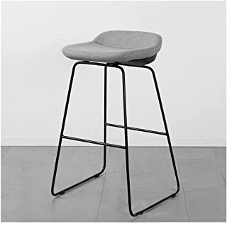 Bar Stools Grey Bar Chairs Breakfast Dining Stools for Kitchen Island Counter Barstool Linen Exterior/Steel Footrest & Bas...