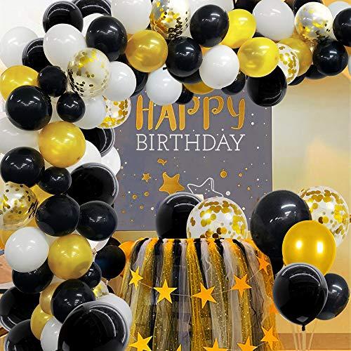 Ballonbogen Girlande Kit Schwarz Weiß Gold Konfetti Latex Ballons für Abschluss, Hochzeit, Geburtstag, Party Dekorationen 118 Stück