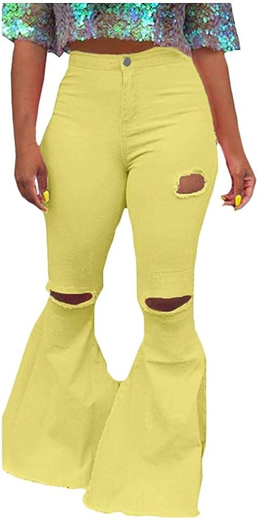 WUAI-Women Plus Size Bell Bottoms Stretchy Jeggings High Waist Classic Flare Jeans Bootcut Denim Pants S-3XL