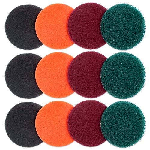 Medoon 掃除計画 ポリッシャー交換用 精練パッド 研磨パッド 100mm 12枚セット 風呂掃除 台所掃除 浴室掃除用 六角軸電動ドリルに適応 (3xグレー+3xオレンジ+3x赤色+3x緑色)