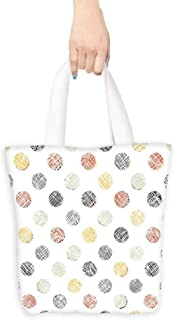 Polka Dots tote bag for women Lined Traditional Geometrical Circles Various Color Combinations Abstract Artsy Lightweight 16.5