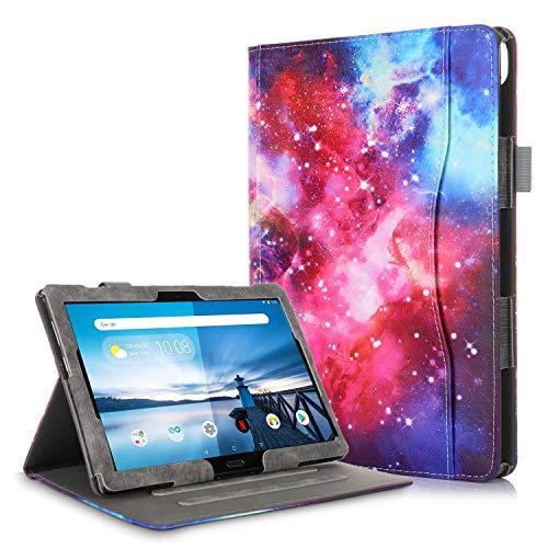 TTVie Hülle für Lenovo Tab M10 / P10 - PU Lederhülle Schutzhülle Cover Tasche mit Stylus-Halterung für Lenovo Tab M10 / P10 25,5 cm (10,1 Zoll FHD IPS Touch) Tablet-PC, Milchstraße