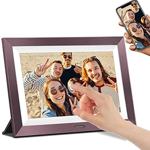 Marco Digital, DUODUOGO 10 Pulgadas WiFi Marco de Fotos Digital, IPS HD 1920×1200 Táctil Pantalla, Almacenamiento de 16 GB, Rotación Automática, Comparta Imagen y Videos a Través de la App, Morado