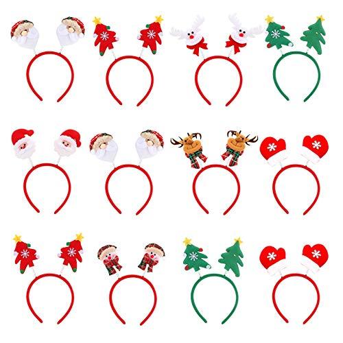 12 Stück Weihnachten Stirnband, ASANMU Weihnachts-Haarreifen Weihnachtsmann, Weihnachtsbaum Haarbänder, Rentier, Schneemann Haarband für Weihnachtsfeier Kopfschmuck Kostümdekoration Weihnachtsschmuck
