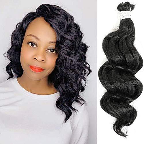 7 Packs Ocean Wave Crochet Hair Pre Looped Curly, 8-9 Inch Black Ocean Wave Braids Deep Wave Crochet Hair Synthetic Hair, Wavy Short Ocean Wave Braiding Hair for Women (8Inch, 2#)