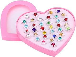 YEAHIBABY Bagues Petites Filles,Réglables Bague pour Enfant Fille avec Boîte De Coeur Rose Enfant Fille Bijoux Présent,36 Pcs