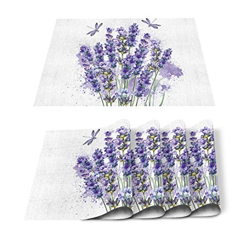 Roses Garden Placemats for Dining Table Set of 6, Purple Lavender Dragonfly Place Mat Washable Polyester Heat-Resistant Kitchen Table Mat for Home Decorations