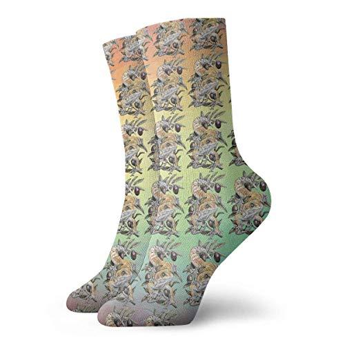 hdyefe Neuheit Lustige verrückte Crew Socke Skorpion Schwanz Eidechse Kopf 3D-gedruckte Sport Athletic Socken 30cm lange personalisierte Geschenksocken