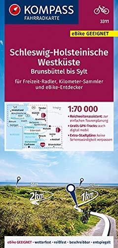 KOMPASS Fahrradkarte Schleswig-Holsteinische Westküste, Brunsbüttel bis Sylt 1:70.000, FK 3311: reiß- und wetterfest mit Extra Stadtplänen (KOMPASS-Fahrradkarten Deutschland, Band 3311)