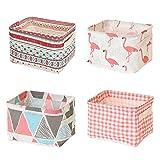 Mutsitaz 4 paquetes de cestas de almacenamiento de tela con asas, plegable impermeable, ideal para...