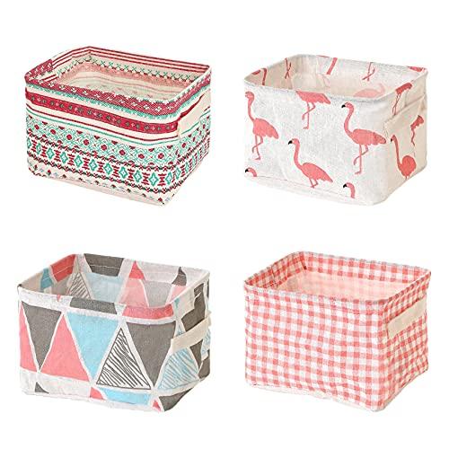 Mutsitaz 4 paquetes de cesta de almacenamiento de tela con asas, plegable impermeable, apto para almacenamiento de escritorio y organizador del hogar (rosa)