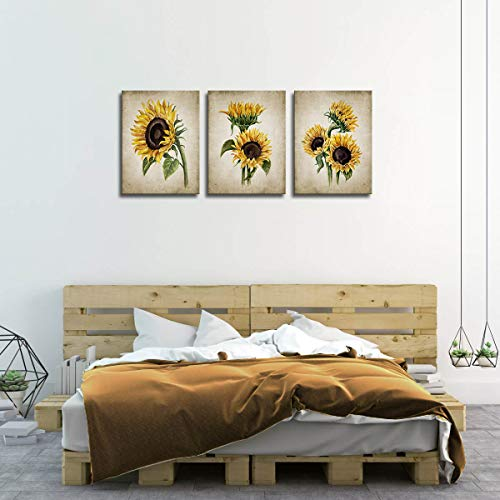 Sunflower Kitchen Decor Simple Life Rustic Wall Decor Vintage Watercolor Sunflower Wall Pictures for Bedroom 3 Pieces Canvas Wall Art Flower Painting Kitchen Wall Decor for Women Gallery Wrapped