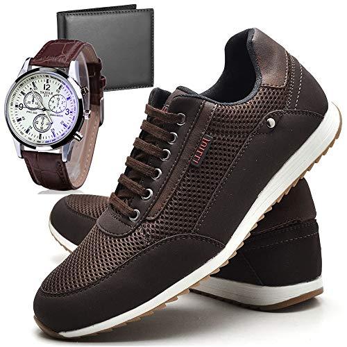 Sapatênis Sapato Casual Com Relógio e Carteira Masculino JUILLI R1100DB Tamanho:41;cor:Marrom;gênero:Masculino