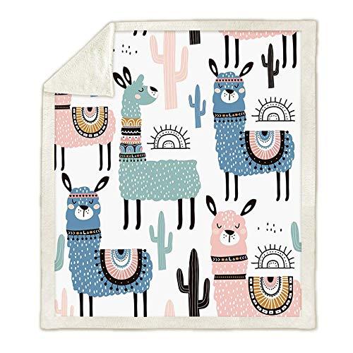3D Print Cartoon Alpaca Funny Animal Blanket Sherpa Blanket On Bed Home Textiles Hooded Blanket Air...