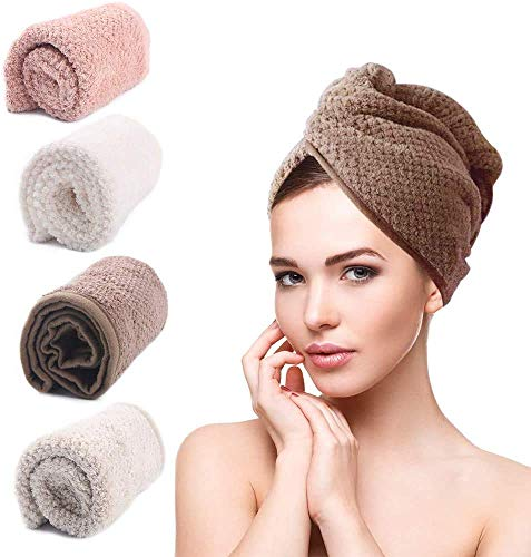 mreechan Haarturban, Haartrockentuch, Haarturban Handtuch für die Haare, Schnell trocknendes Handtuch,4 Stück Handtuch Kopftuch Schnelltrocknend saugfähig Haar...