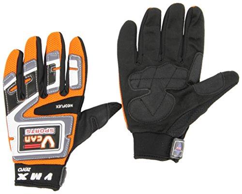 Protectwear Crosshandschoenen, downhillhandschoenen, BMX-handschoenen van scheurbestendig textiel met kunststof opzetstukken Größe 13 oranje/zwart/wit