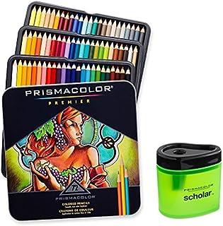 Prismacolor 3599TN Premier 軟芯 72 色鉛筆 + 1774266 Scholar 彩色鉛筆刀;適合分層、混合和著色;柔軟厚芯帶來平滑的色彩布局