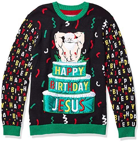 Blizzard Bay Men's Ugly Christmas Sweater Santa, Black/Green, Large
