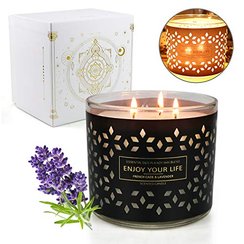 Scented Candles for Home Scented, 14.5 oz Large Aromatherapy Candle with 125 Hour Burn Long Lasting, All Natural Soy Candles, 3 Wick Scented Jar Candle Lavender & Juniper