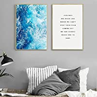 Ocean Waves Wall Art Poster And Prints For Living Room Nordic Decoration , Blue Waves Canvas Painting Wall Pictures Home Decor 40x60cmx2 Unframed