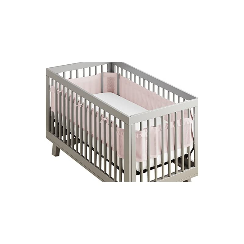 crib bedding and baby bedding breathablebaby deluxe patented, safer for baby, anti-bumper, non-padded, breathable mesh crib liner – blush ruffle