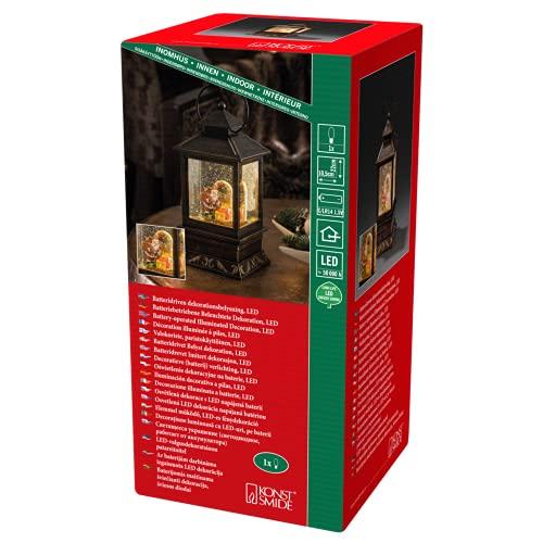Konstsmide 2800-000 LED Schneelaterne mit Weihnachtsmann und Kindern / für Innen (IP20) / 1 warm weiße Diode / Batteriebetrieben: 3 x AA 1.5V (exkl.)