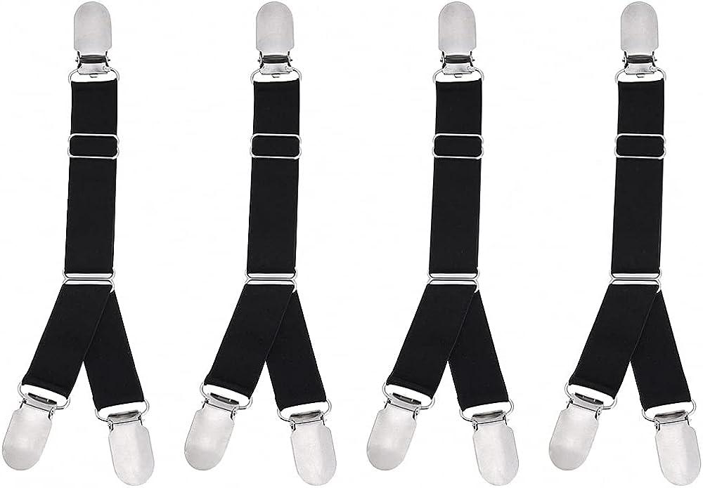 Women Men Black Elastic Band Garter Belt Shirt Stays Holder Socks Suspender