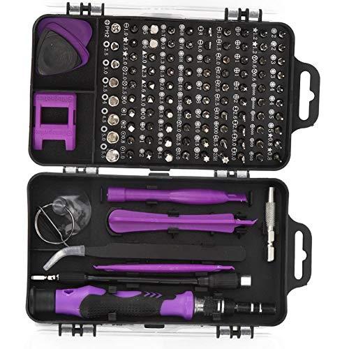SALUTUYA Durable 17 Piezas de Accesorios de extracción Juego de Destornilladores Broca de Destornillador, PC, Herramienta de Mano de extracción de teléfono(Purple)