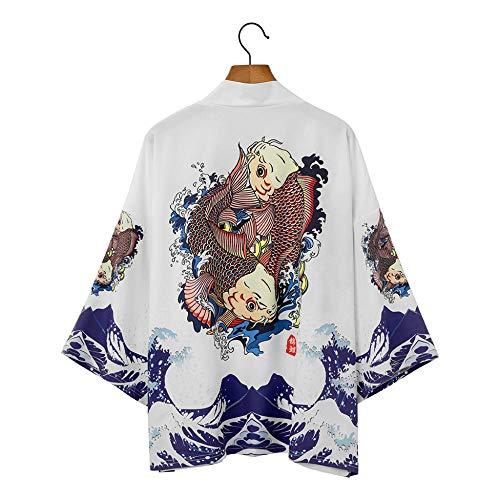 Kimono Japonés Cardigan Hombres Verano NuevoSamurai Kimonos Karate Streetwear Camisa Kimono Japones Hombres Yukata-Style_M_XXL