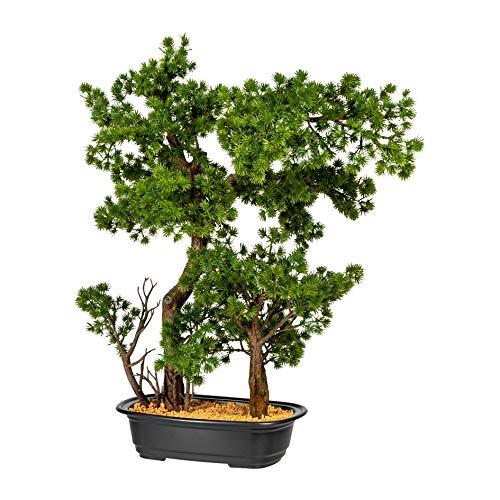 Homefinity Künstlicher Bonsai Lärche ca. 60cm grün in schwarzer Kunststoffschale