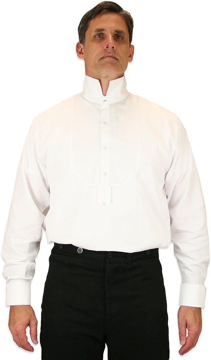 Historical Emporium Men's French Cuff Victorian High Collar Stud Convertible Dress Shirt