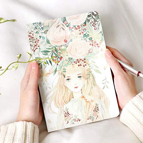 Creativo Hermosa guirnalda niña libro pintado a mano página en blanco graffiti boceto diario tapa dura Papelería para estudiantes Regalos Suministros 25.5x18.5cmB5